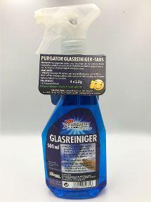 PURGATOR Glasreiniger Flasche + Tabs-Hangtag