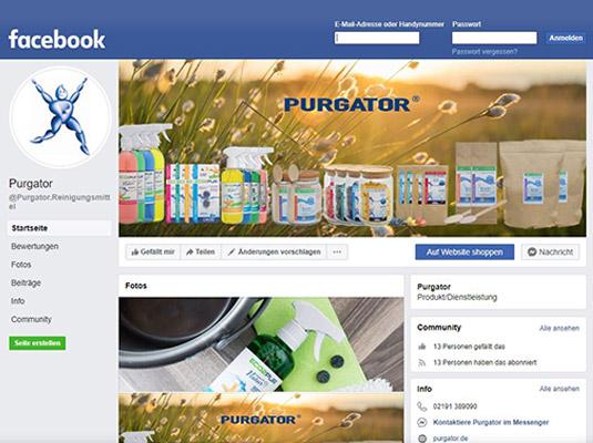 Purgator mit ECO2PUR bei Facebook